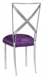 Silver Simply X with Purple Taffeta Boxed Cushion
