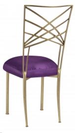Gold Fanfare with Purple Taffeta Boxed Cushion