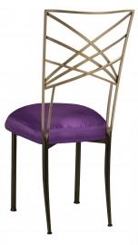 Two Tone Fanfare with Purple Taffeta Boxed Cushion