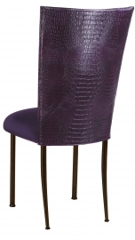 Purple Croc Chair Cover with Eggplant Velvet Cushion on Brown Legs