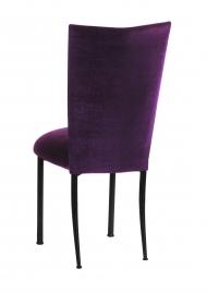 Eggplant Velvet Chair Cover and Cushion on Black Legs