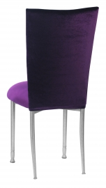 Eggplant Velvet Chair Cover and Cushion on Silver legs