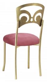 Gold Fleur de Lis with Raspberry Suede Cushion