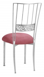 Silver Bella Fleur with Raspberry Suede Cushion