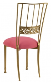 Gold Bella Fleur with Raspberry Suede Cushion