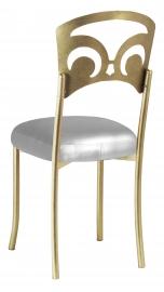 Gold Fleur de Lis with Silver Leatherette Boxed Cushion
