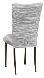 Silver Demure Chair Cover with Jewel Band and Silver Stretch Knit Cushion on Brown Legs