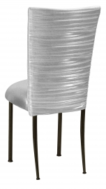 Chloe Metallic Silver on White Foil Chair Cover with Metallic Silver Stretch Knit Cushion on Brown Legs