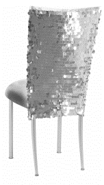 Silver Confetti Stretch Knit Chair Cover and Silver Stretch Knit Cushion on Silver Legs