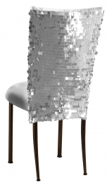 Silver Confetti Stretch Knit Chair Cover and Silver Stretch Knit Cushion on Brown Legs