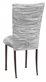 Silver Demure Chair Cover with Jeweled Band and Silver Stretch Knit Cushion on Mahogany Legs