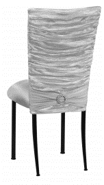 Silver Demure Chair Cover with Jeweled Band and Silver Stretch Knit Cushion on Black Legs