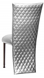 Silver Quilted Leatherette Jacket and Silver Stretch Vinyl Boxed Cushion on Mahogany Legs