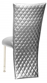 Silver Quilted Leatherette Jacket and Silver Stretch Vinyl Boxed Cushion on Ivory Legs