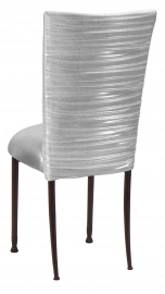 Chloe Metallic Silver on White Foil Chair Cover and Cushion on Mahogany Legs