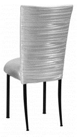 Chloe Metallic Silver on White Foil Chair Cover and Cushion on Black Legs