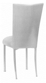 Metallic Silver Stretch Knit Chair Cover and Cushion on Silver Legs