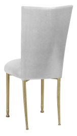 Metallic Silver Stretch Knit Chair Cover and Cushion on Gold Legs