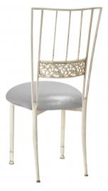 Ivory Bella Fleur with Metallic Silver Stretch Knit Cushion