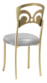 Gold Fleur de Lis with Metallic Silver Stretch Knit Cushion