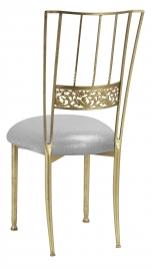 Gold Bella Fleur with Metallic Silver Stretch Knit Cushion