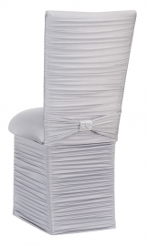 Chloe Silver Stretch Knit Chair Cover with Rhinestone Accent Band