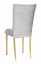 Chloe Silver Stretch Knit Chair Cover and Cushion on Gold legs