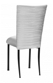 Chloe Silver Stretch Knit Chair Cover and Cushion on Black Legs