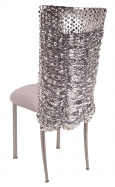 Silver Punchout Chair Cover with Silver Stretch Knit Cushion on Silver Legs