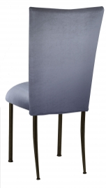 Steel Velvet Chair Cover and Cushion on Brown Legs
