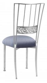 Silver Bella Fleur with Steel Velvet Cushion