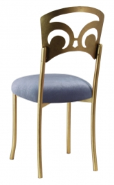 Gold Fleur de Lis with Steel Velvet Cushion
