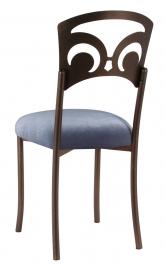 Bronze Fleur de Lis with Steel Velvet Cushion