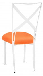 Simply X White with Tangerine Stretch Knit Cushion
