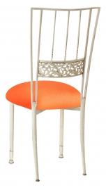 Ivory Bella Fleur with Tangerine Stretch Knit Cushion