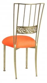 Gold Bella Fleur with Tangerine Stretch Knit Cushion