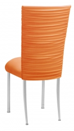 Chloe Tangerine Stretch Knit Chair Cover and Cushion on Silver Legs
