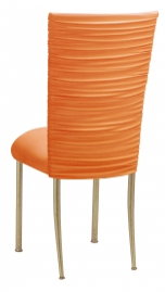 Chloe Tangerine Stretch Knit Chair Cover and Cushion on Gold Legs
