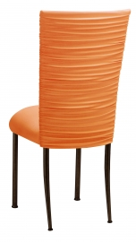 Chloe Tangerine Stretch Knit Chair Cover and Cushion on Brown Legs