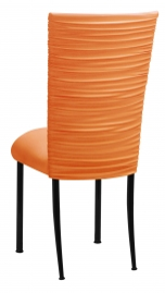 Chloe Tangerine Stretch Knit Chair Cover and Cushion on Black Legs