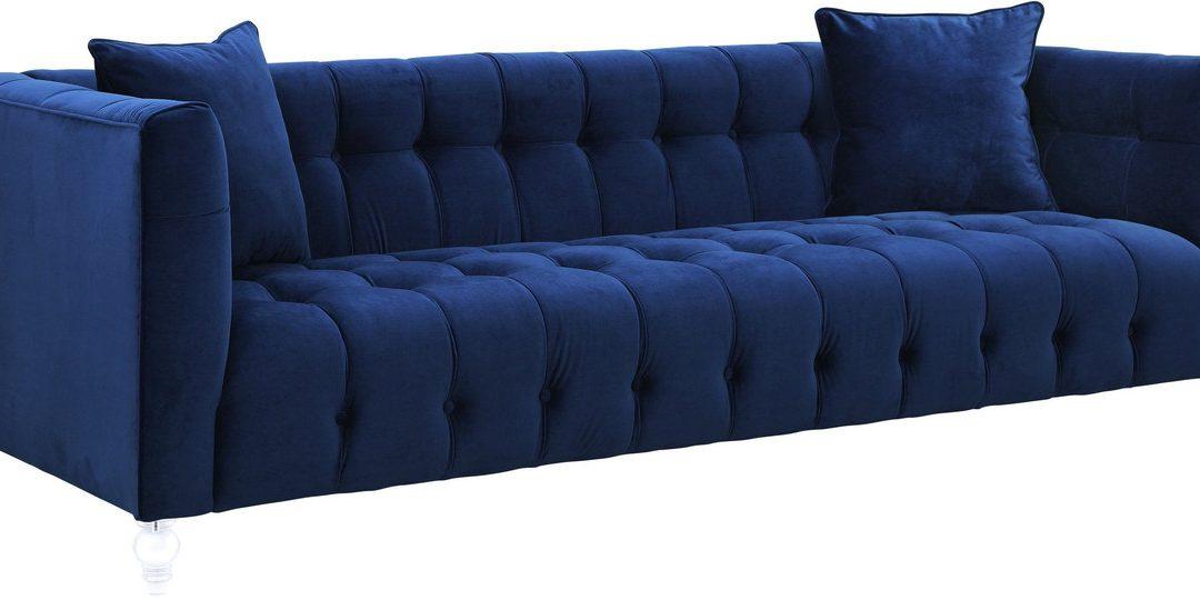 Bea Navy Velvet Tufted Sofa