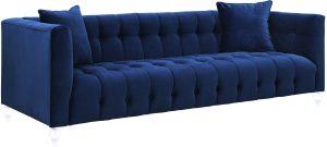 Beaded Navy Velvet Sofa Rental Vegas